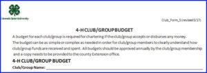 club budget example