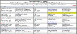 screenshot of 2018 calendar spreadsheet
