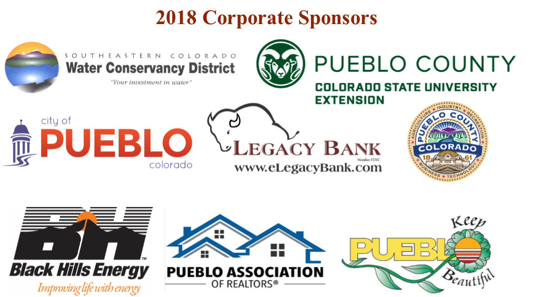 list of corporate sponsors including black hills energy keep pueblo beautiful water conservancy pueblo county legacy bank pueblo county extension pueblo realtors association city of pueblo