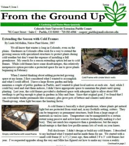 cover of newsletter with picture of cinder block and window cold frames in gardens