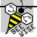 black whtie and grey bee wise logo with drawing of a bee