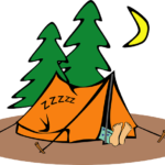 cartoon of green pine trees and orange tent