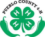 pueblo county 4-h circle logo with 4H clover and green chili peppers