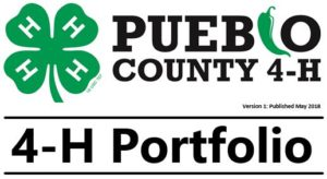 pueblo county 4-h portfolio with green 4h clover logo