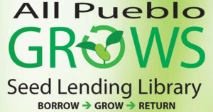 green and white all pueblo grows logo with plant elaves