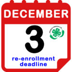 white and red calendar page december 2 re-enrollment deadline with green and black pueblo county 4H chili logo