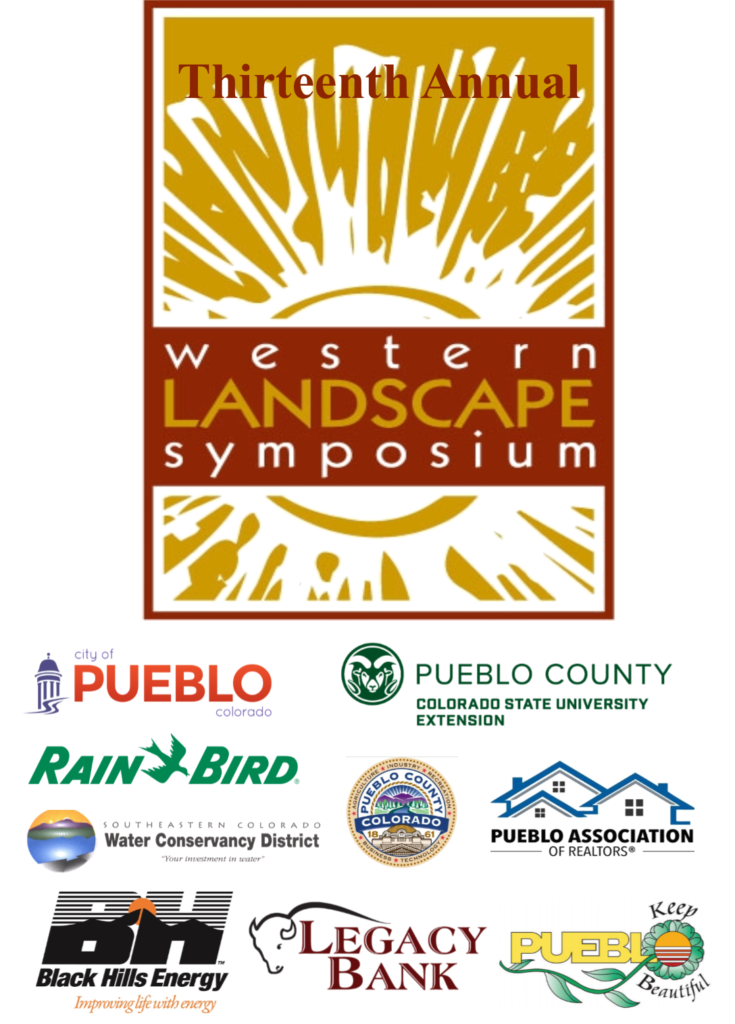 red and gold western landscape symposium logo with logo from the city of pueblo pueblo county extension rainbird, southeast water conservancy pueblo county government black hills pueblo association of realtors legacy bank keep pueblo beautiful