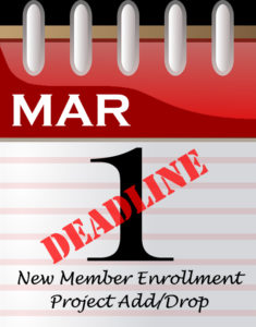 calendar page that says march 1 deadline new member enrollment