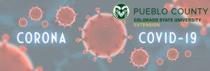 red virus image on blue background with CSU Extension Pueblo logo