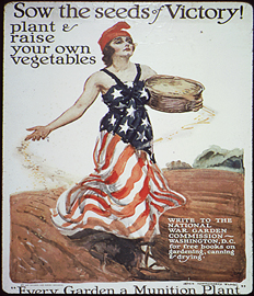 WWI image of woman planting seeds