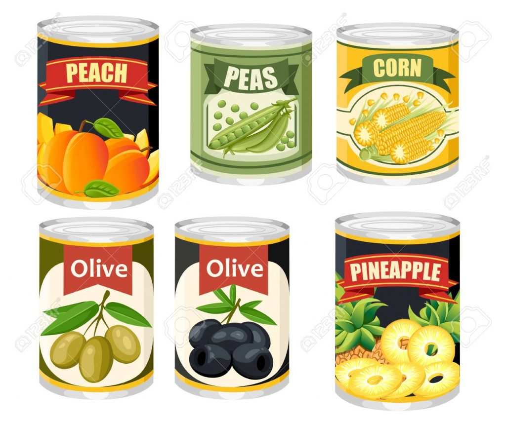 Colored icon collection Food in aluminum can. Canned fruits and olives. Product for supermarket and shop. Flat vector illustration isolated on background.