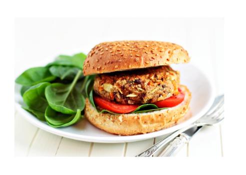 veggie burger on seeded bun