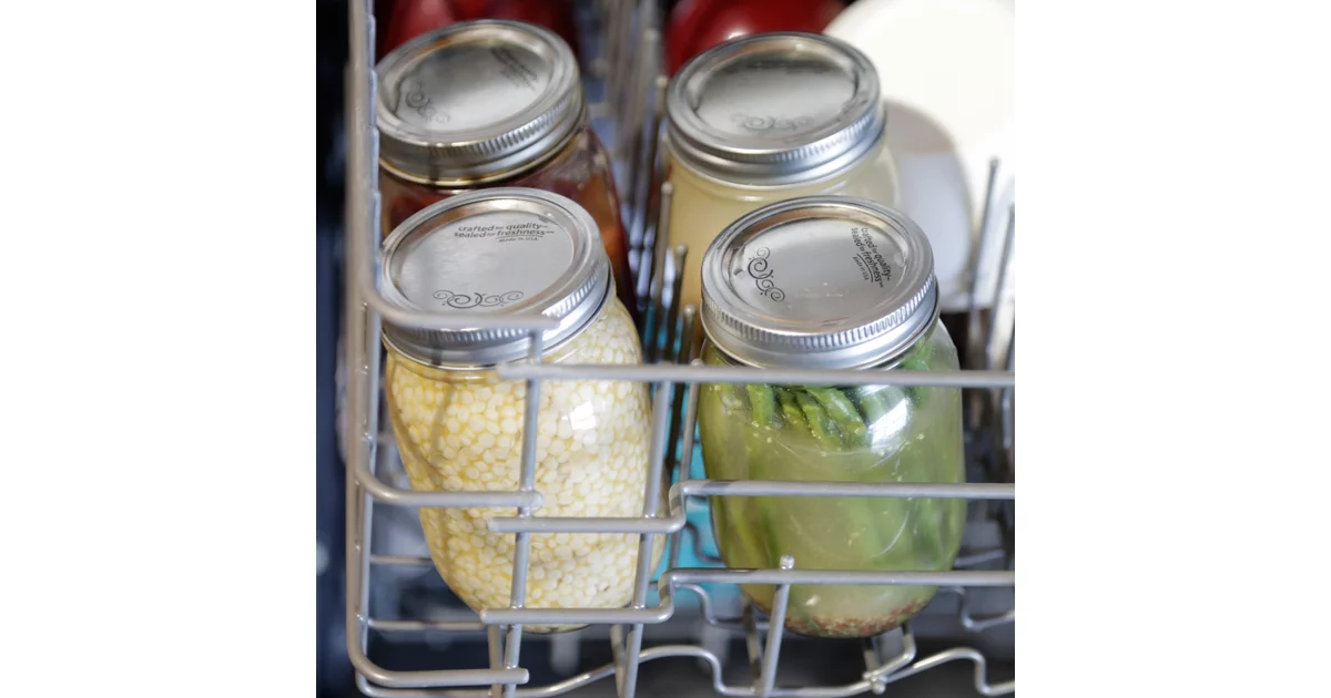 canning jars in dishwasher