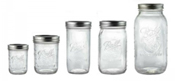 various sized of canning jars