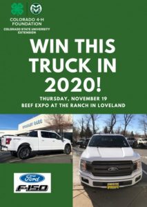 win this truck green flyer with white ford truck colorado state 4-h foundation raffle
