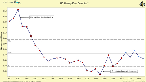 chart showing decline of honey bees from 1987 to 2017 from 3.3 million bees to 2.6 million bees