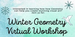 winter geometry workshop blue and green logo with snowflakes and origami bird