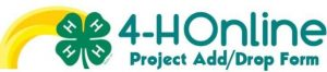 4-H online project drop add form with green 4-H clover