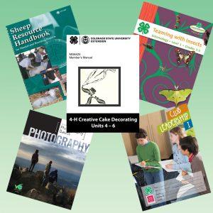 4-H project manuals including sheep cake decorating leadership photography entomology