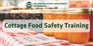 "jars of apricot preserves with the words ""cottage foods safety training"" in green over the top of the image"