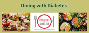 green dining with diabetes logo - plate with fork on left and knife on right