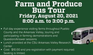 farm and produce bus tour friday august 20, green background photo of tour bus