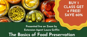 jars of peas, pickles, tomatoes buy 1 class get 4 free basics of food preservation